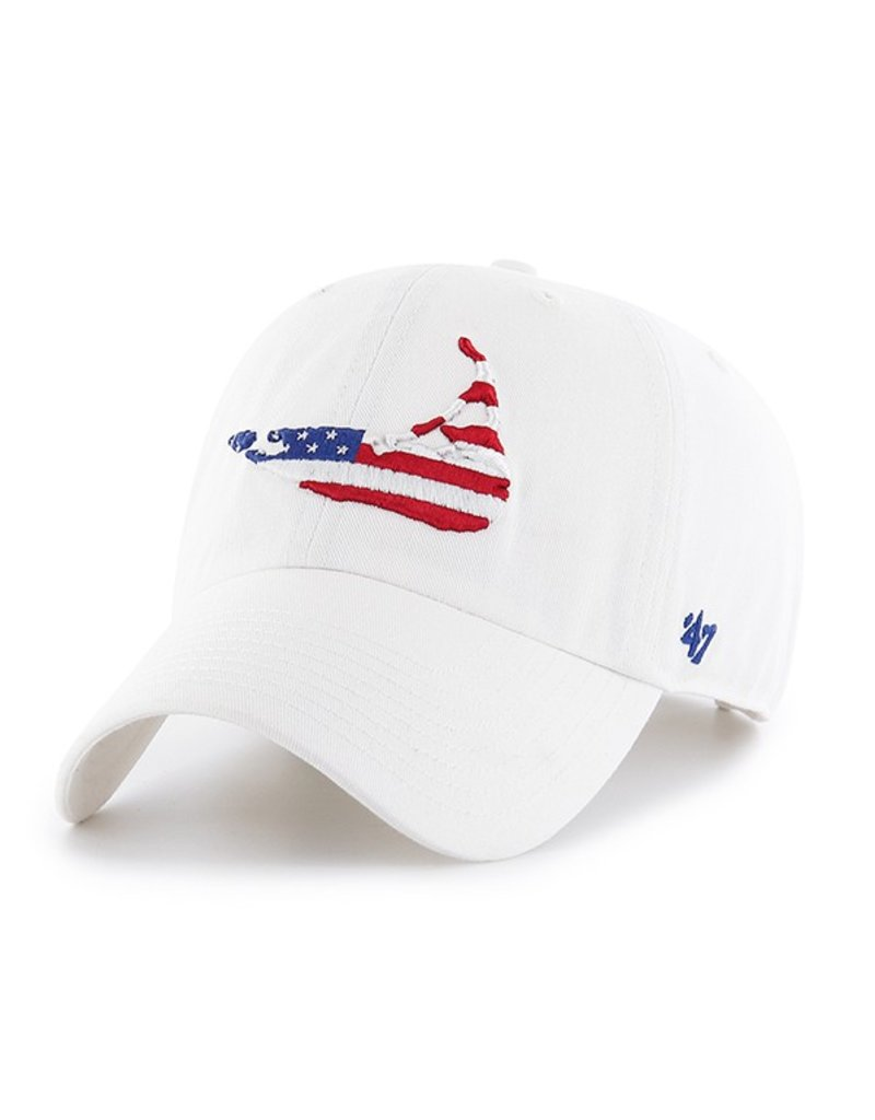 47 Brand Great design on an orignal hat! Island shape with flag design is sporty and cool on 47 Brand's classic Clean Up Cap.