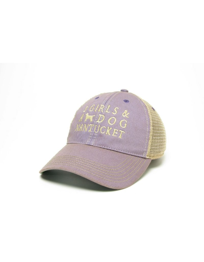 """Legacy Legacy old favorite trucker hat. 100% cotton twill with a proprietary wash to create a """"dirty"""" effect. Unstructed low profile fit with supersoft mesh. Snap back closure one size fits all."""
