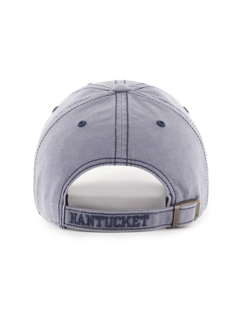 47 Brand This is a perfect distressed look! The hat is still clean cut while the sharks embroidery is fringed making for a worn look. This is a sturdy and deep cut hat.