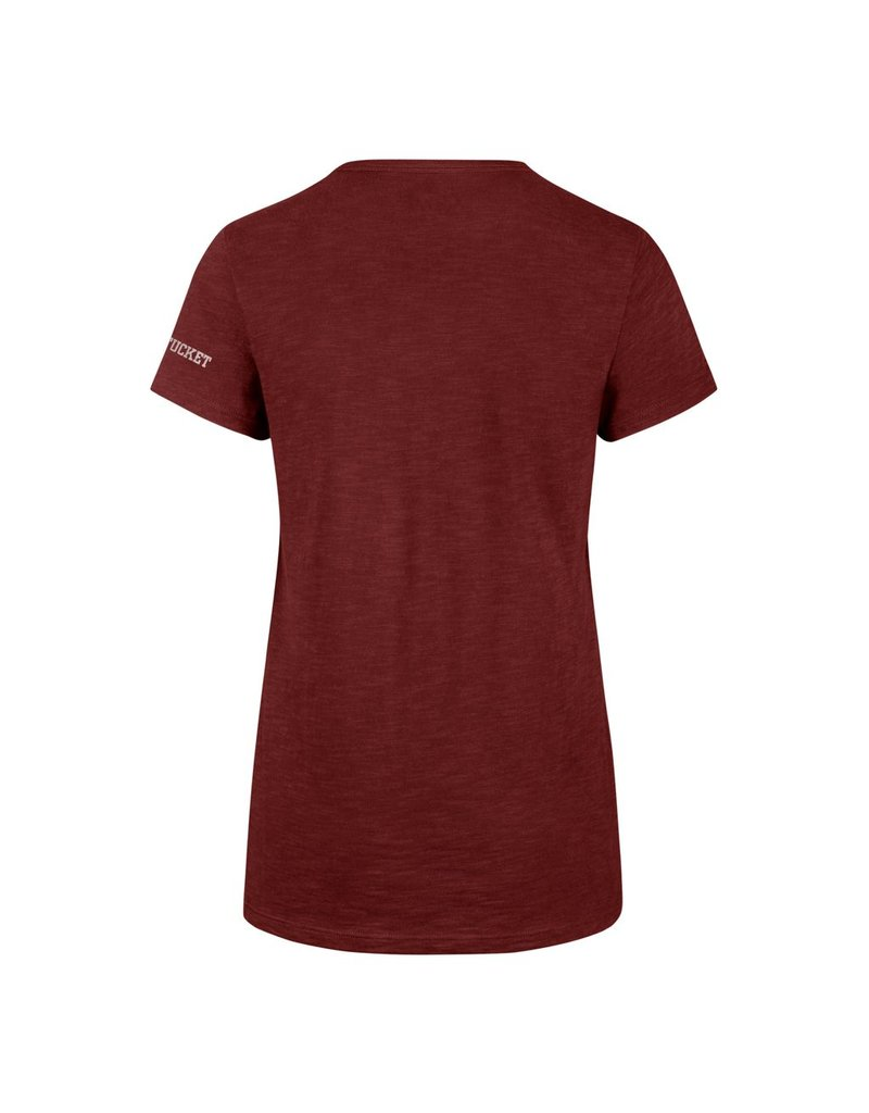 47 Brand Ring spun combed cotton made with slub yarns for a natural texted finish. Short sleeve scoop neck with a tagless neck label. Vintage screen print graphic. 100% Cotton.