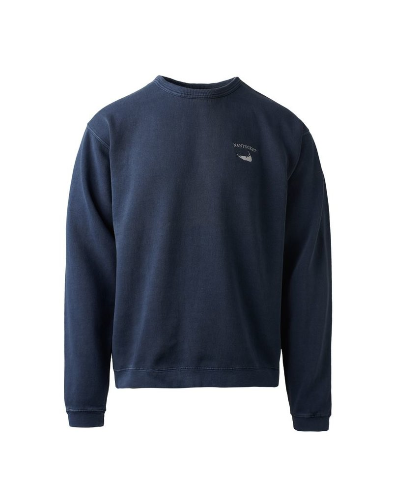 Austins Austin mens crew neck sweatshirt. Small Nantucket arc over island shape logo on front left chest. 80% cotton 20% polyester.