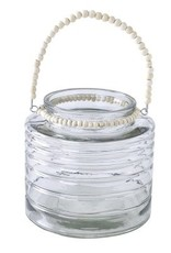Glass Hurricane with Beaded Handle - Large