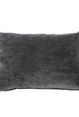 Charcoal Gray Velvet Throw Pillow