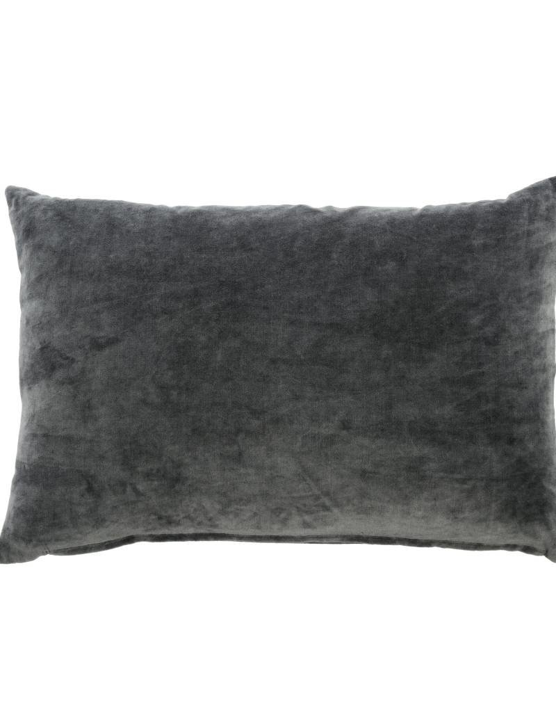 Charcoal Gray Velvet Throw Pillow