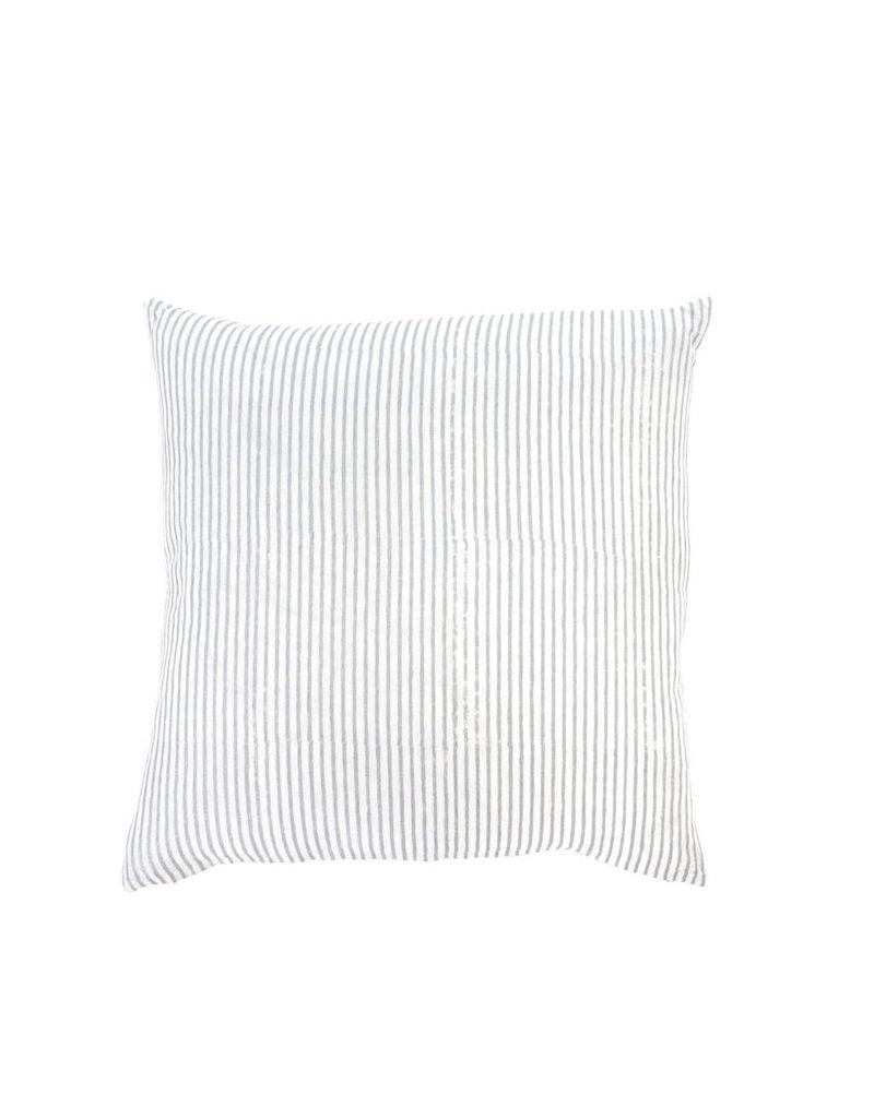 Gray Linen Hand Block Throw Pillow