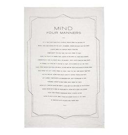 Linen Mind Your Manners Tea Towel