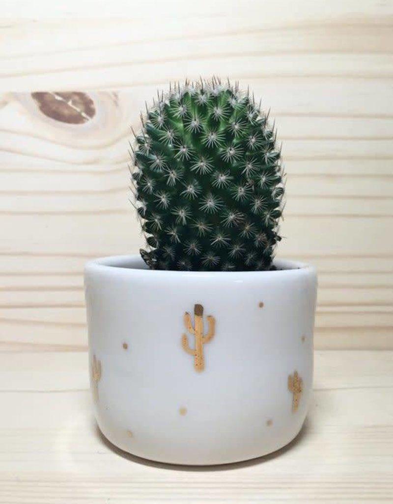 Gold Cactus Handmade Porcelain Vessel