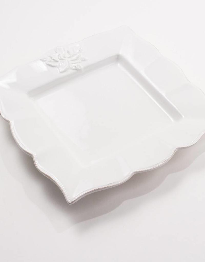 White Magnolia Square Plate