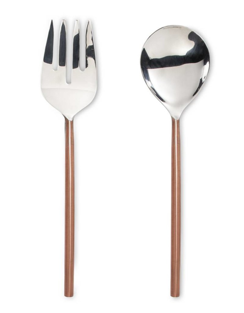 Salad Servers with Brushed Finish Handle