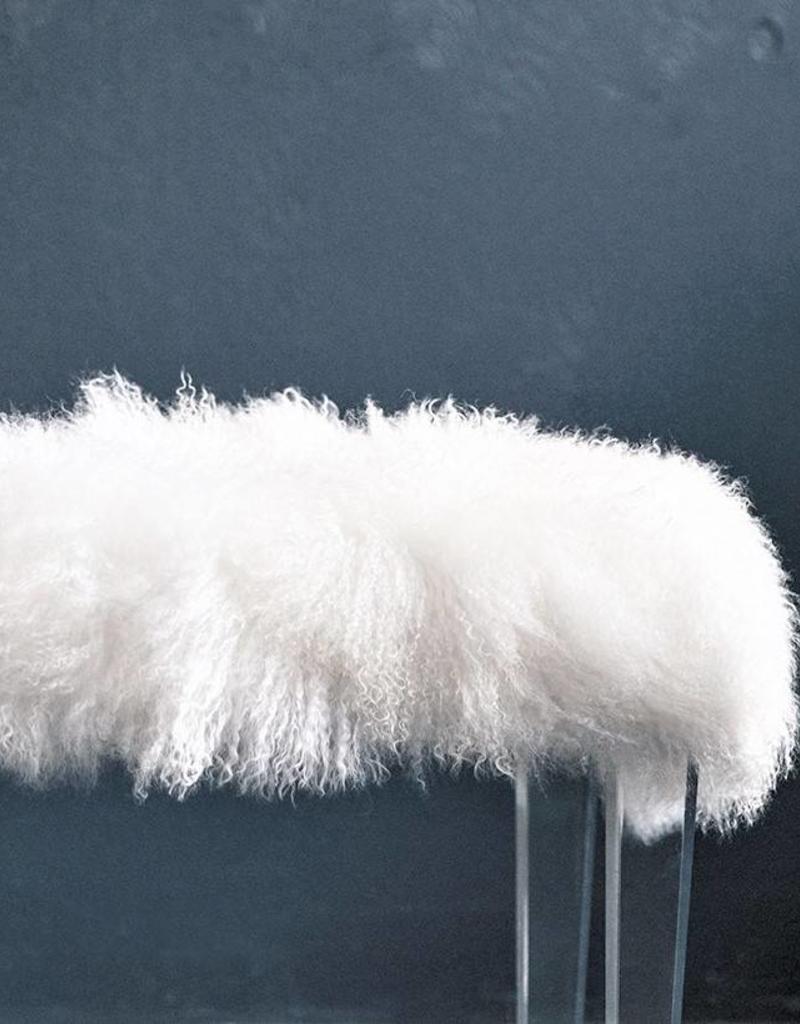 Mongolian Fur Bench, White