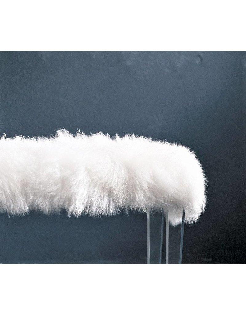 Acrylic Mongolian Fur Bench - White