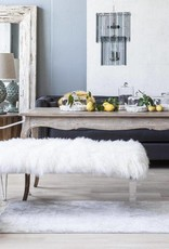 Acrylic Mongolian Fur Bench - White