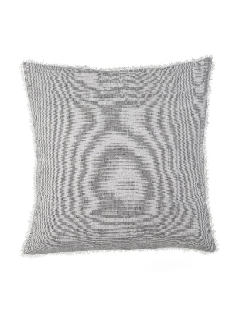 Navy Stipe Belgian Linen Throw Pillow