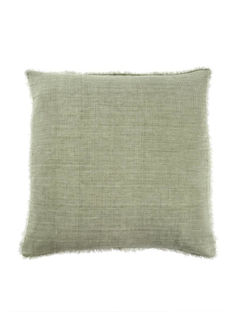 Olive Belgian Linen Throw Pillow