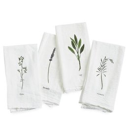 Garden Herbs Cotton Flour Sack Napkins - Set of 4