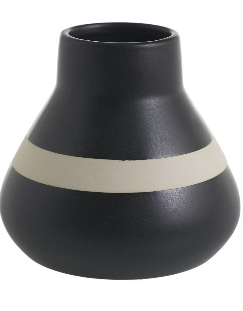 Black Logan Vase with Stripe
