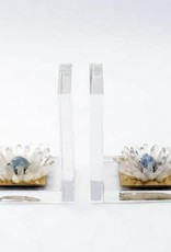 Acyrlic and Quartz Flower Bookends - Pair