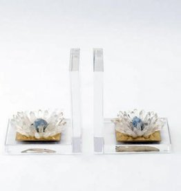 Acrylic and Quartz Flower Bookends