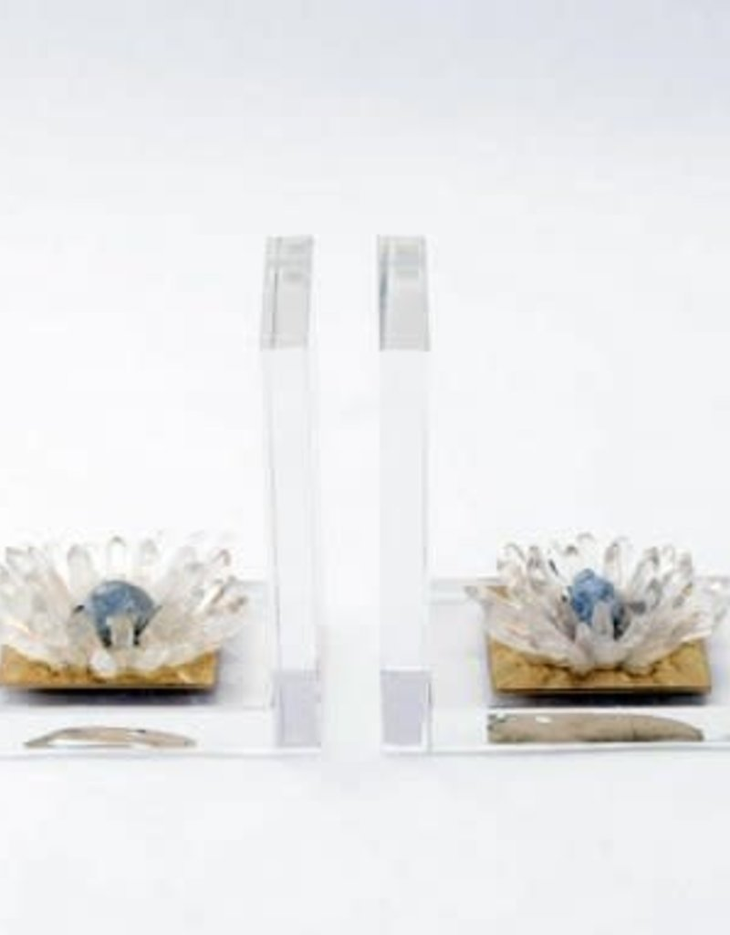 Quartz Flower Bookends - Pair