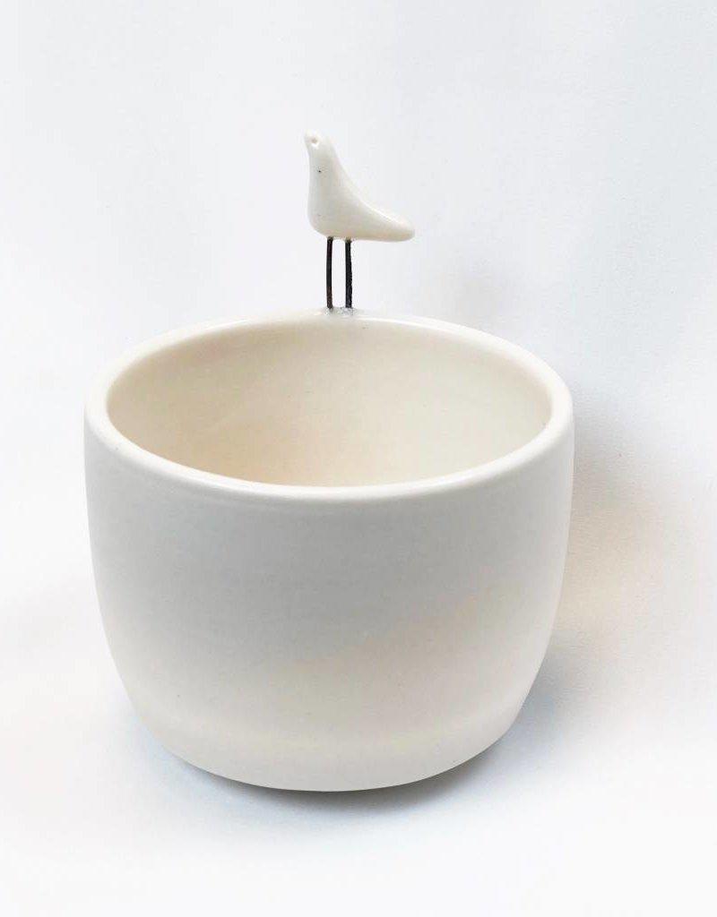 White Bird Bowl Planter