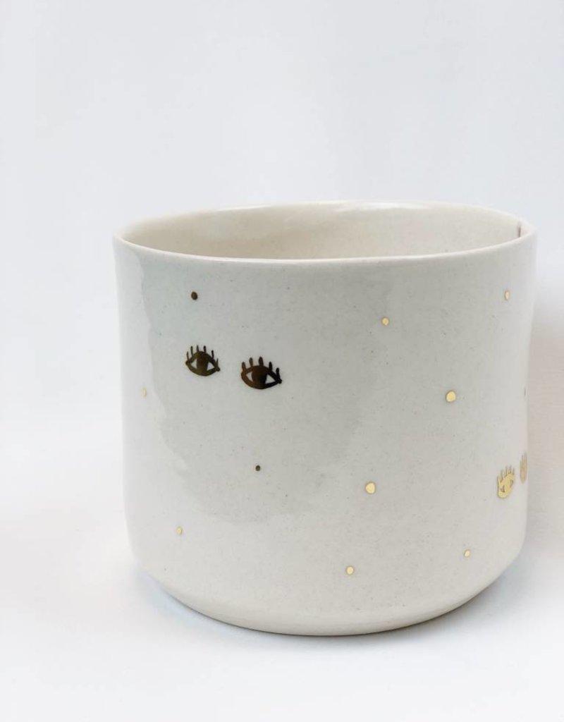 Gold Eyes Handmade Ceramic Vessel - Planter