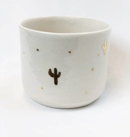 Gold Cactus Ceramic Vessel
