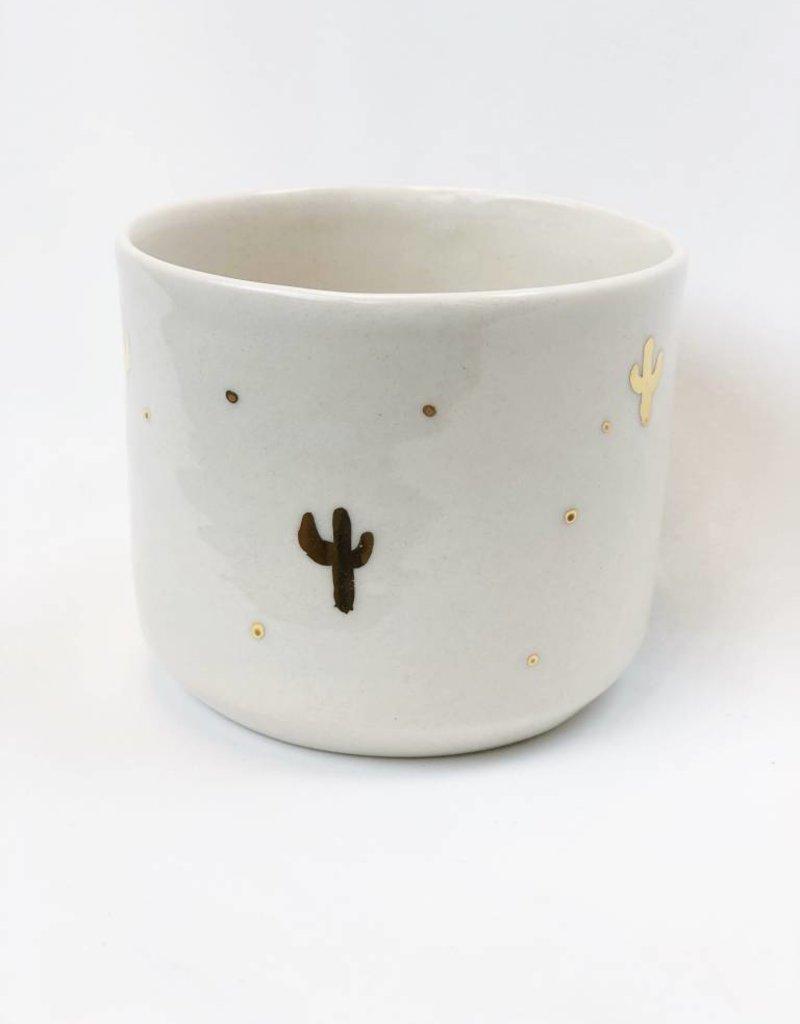 Gold Cactus Handmade Ceramic Vessel - Planter