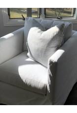 Navy Stipe Belgian Linen Throw Pillow