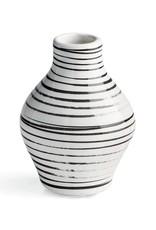 Medium Black and White Striped Vase