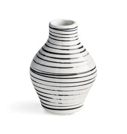 Black + White Striped Vase - Medium