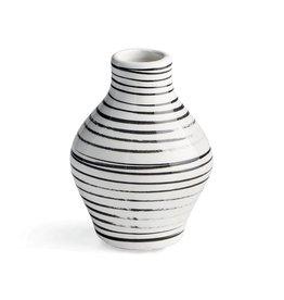 Black + White Striped Vase - Medium