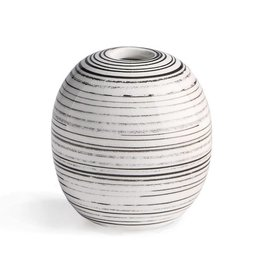 Black + White  Striped Vase - Small