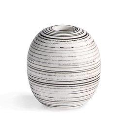 Black + White  Striped Vase - Small