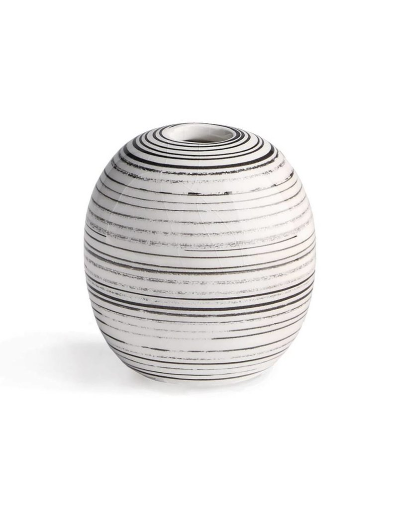 Small Black and White Striped Vase