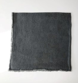 Linen Fringed Napkin - Charcoal