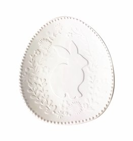 Embossed Floral Bunny Plate