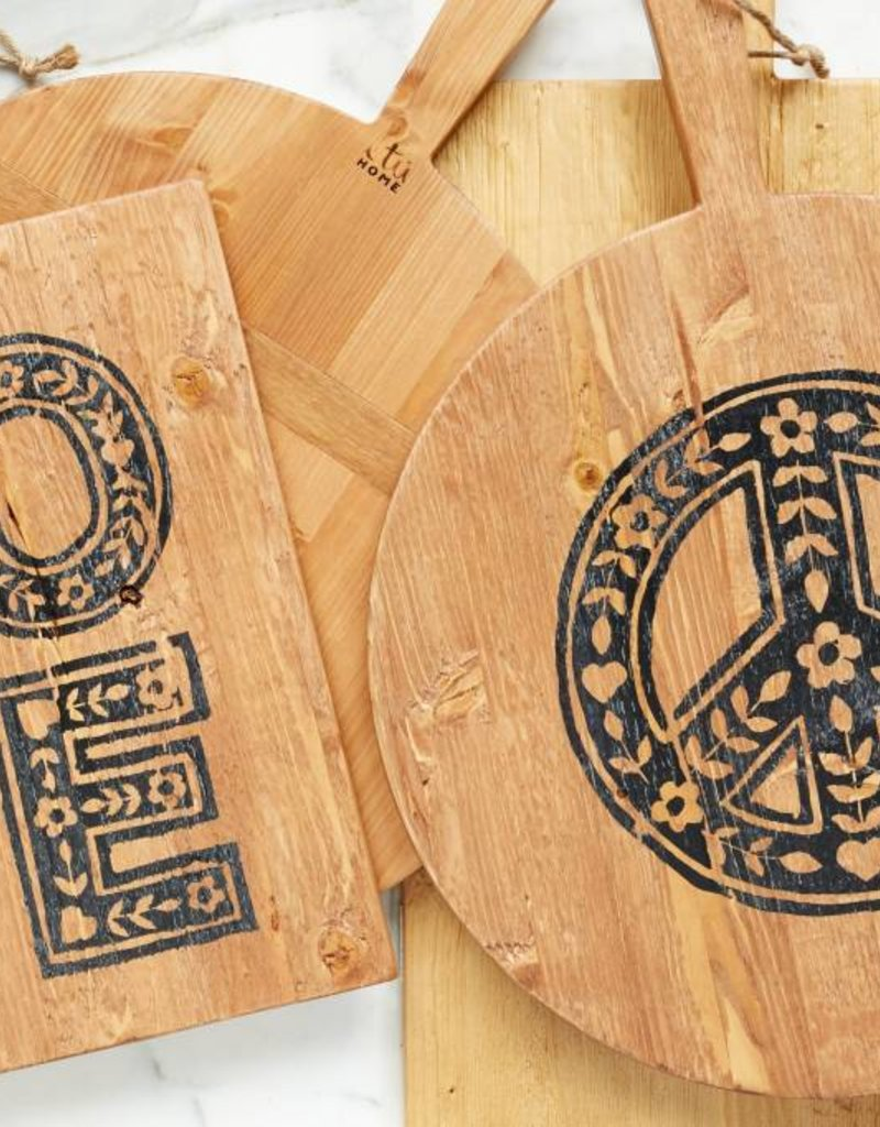 PEACE Boho Wooden Pizza Board