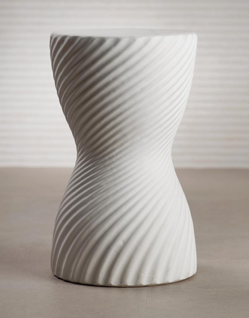 White Jackson Ceramic Ribbed Stool