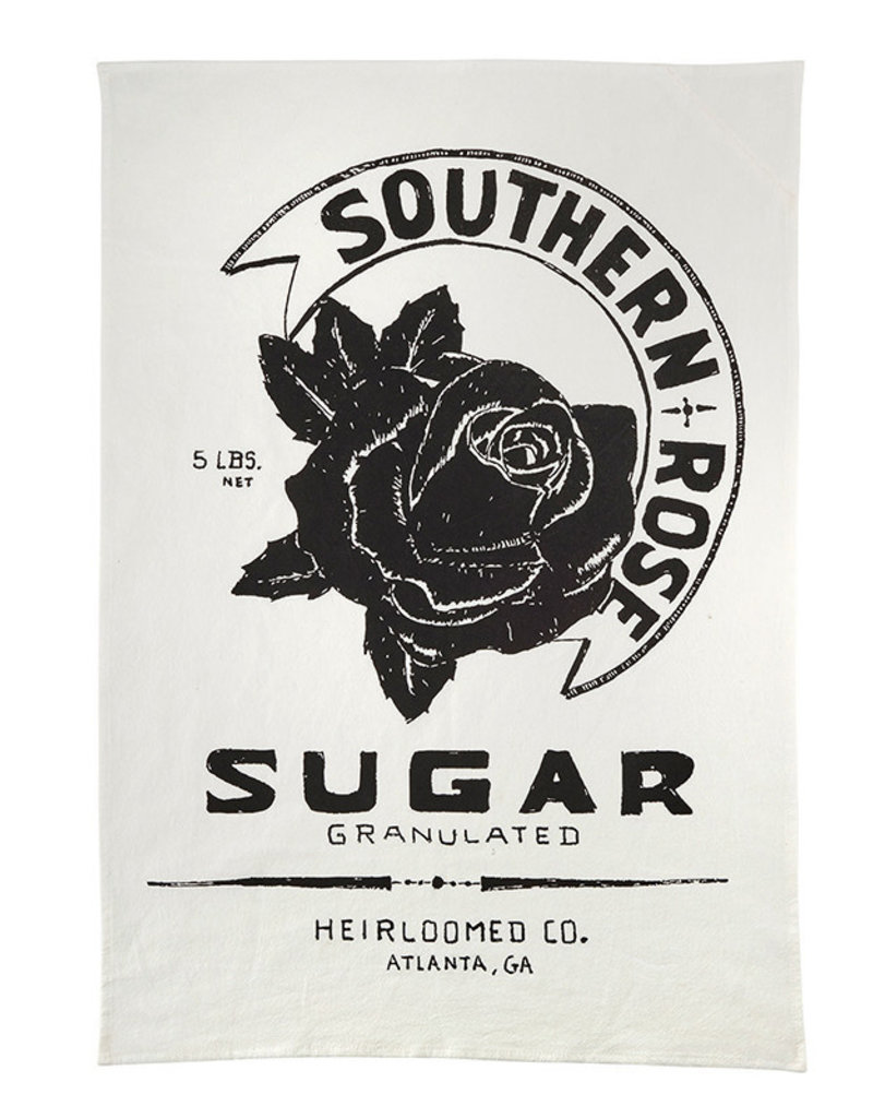 White Southern Rose Tea Towel