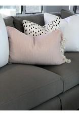 Pink Linen Tassel Throw Pillow