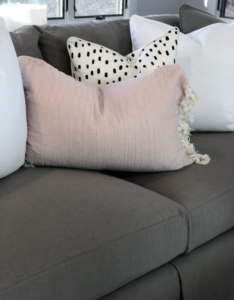Pink Linen Tassel Throw Pillow