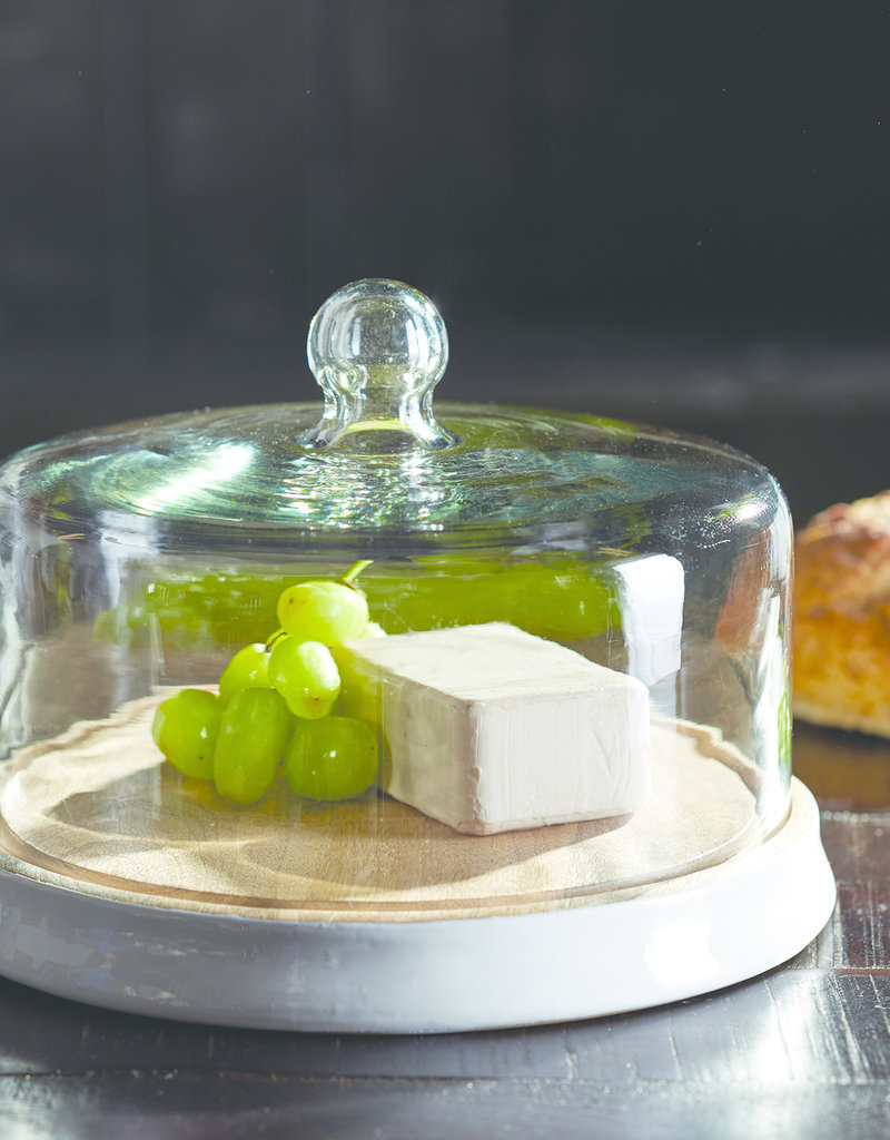 Modern Wood Serving Base with Cloche