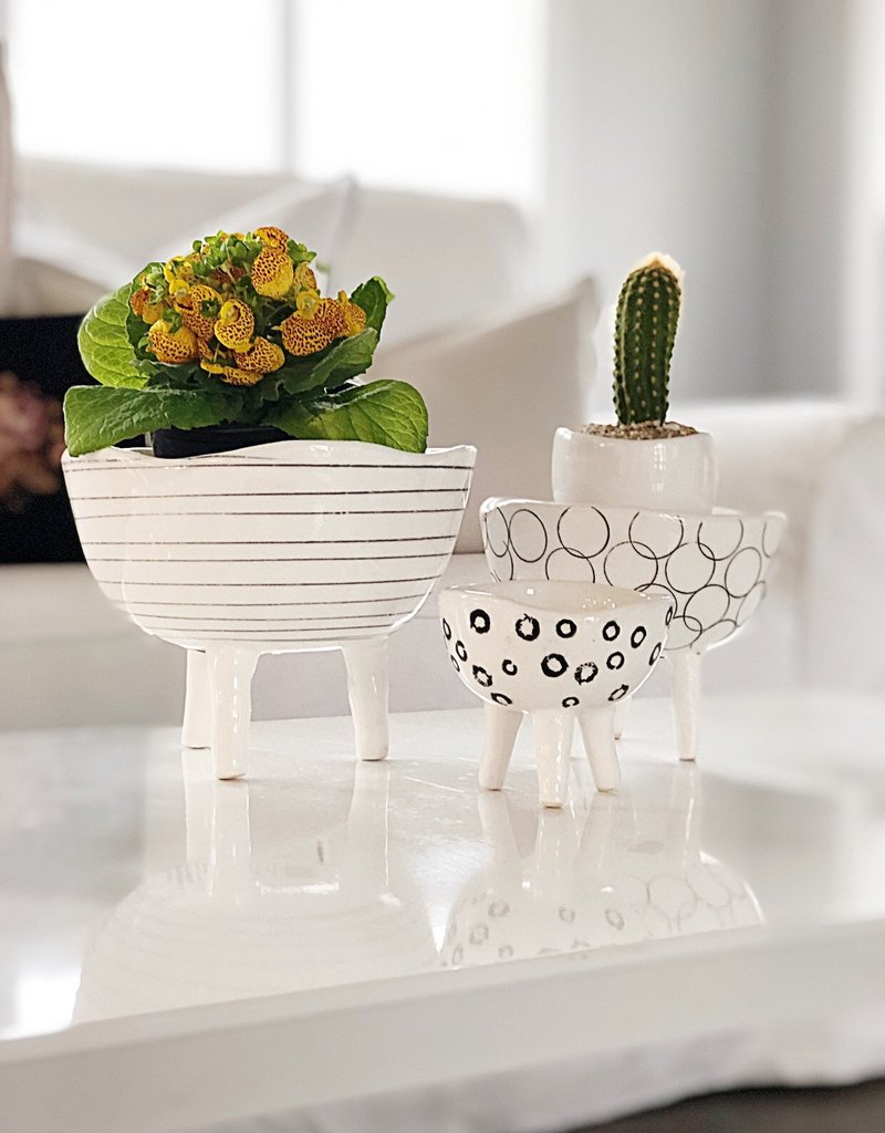 Black + White Footed Planters - Set of 3