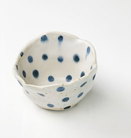 Handmade Ceramic Danish Vessel Navy Blue Dots In/Out