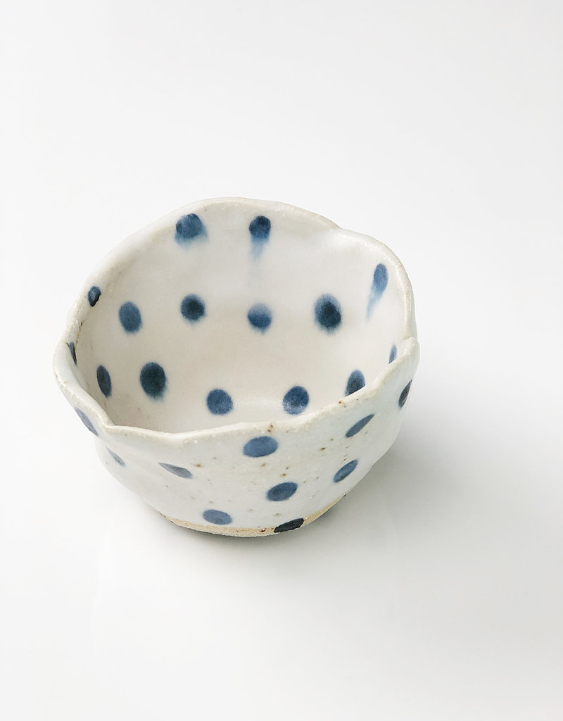 "Polli Pot White w/ Navy Blue Dots In/Out - 2"" x 3"" Diameter"