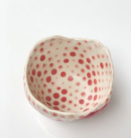 Handmade Ceramic Danish Vessel Red Stripe Out/ Red Dots In
