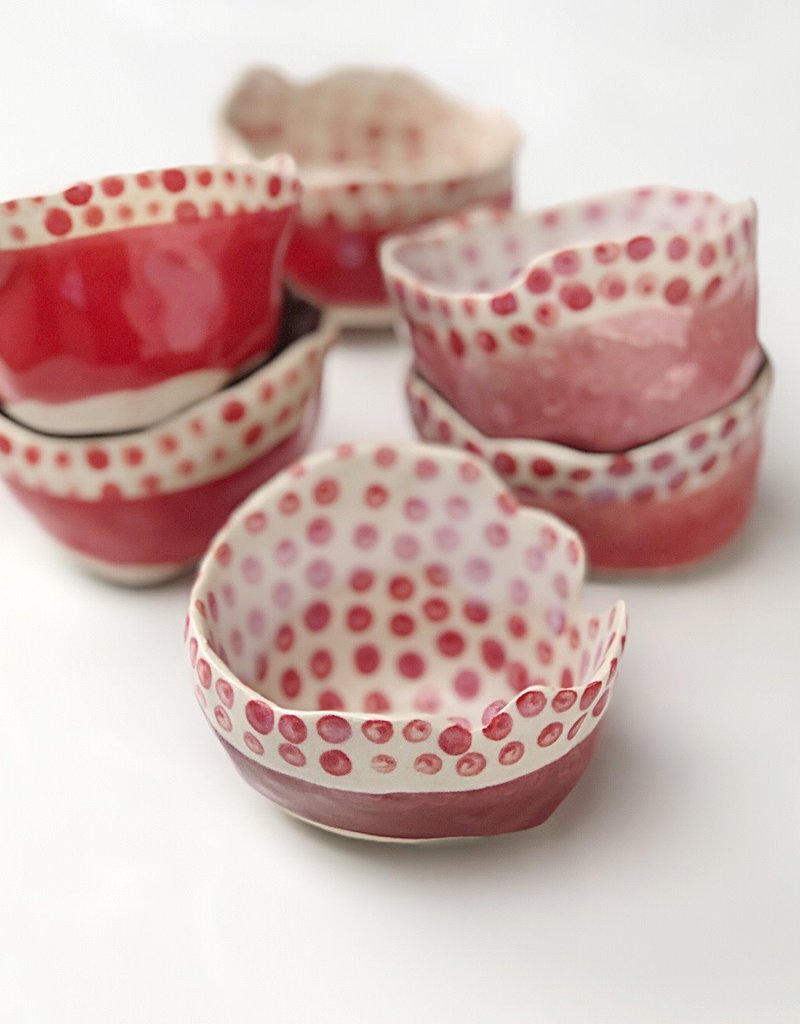 """Polli Pot Red Stripe Out/ Red Dots In 2 x 3"""" Diameter"""
