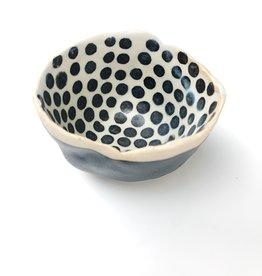 Handmade Ceramic Danish Vessel Black Stripe Out/ Black Dots