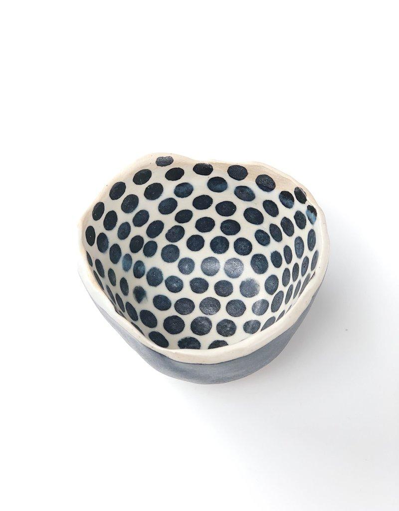 "Polli Pot Black Stripe Out/Black Dots In  2 x 3"" Diameter"