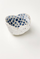 Handmade Ceramic Danish Vessel White Out/ Navy Dots